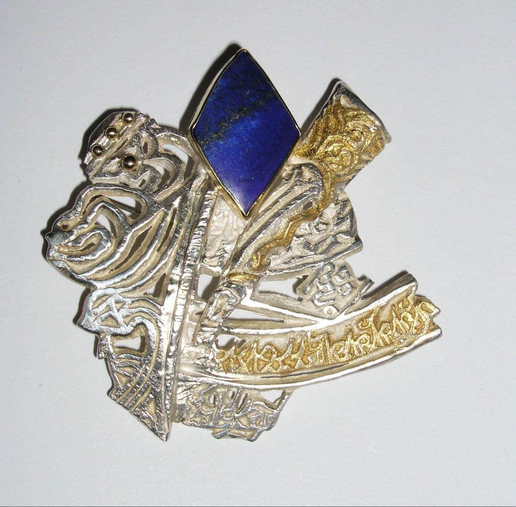 Cast and Fabricated Sterling Silver with Gold Leaf, Lapis Lazuli Castings created from Tibetan Prayer Flag wood block