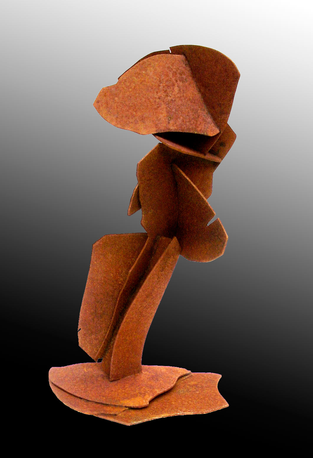 Abstract sculpture fabricated copper