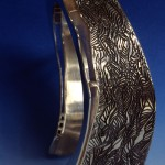 Sterling Silver etched and fabricated bracelet