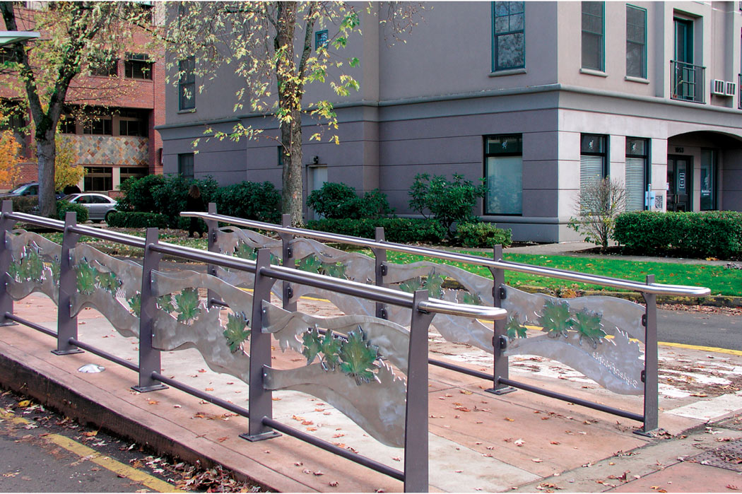 fabricated and cast aluminum hybrid transit station art railings