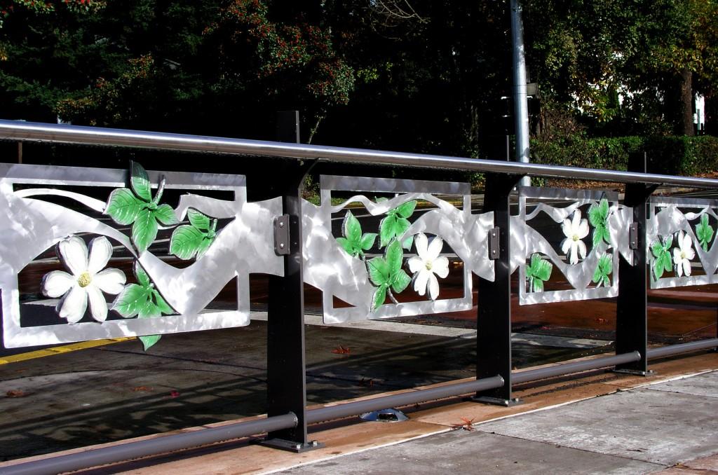 fabricated and cast aluminum transit station art railings