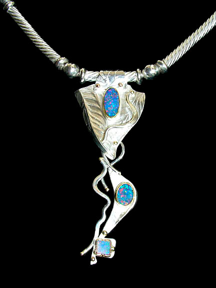 Fabricated Sterling with gold, 3 opals