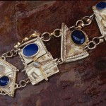 Sterling and Fine Silver with Golds, Lapis and Moonstone Bracelet Collection of the Artist